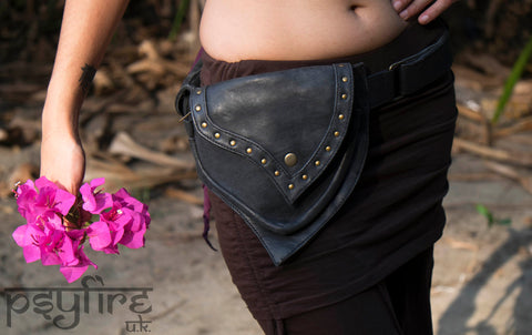 BLACK LEATHER Utility Belt - Psytrance Festival Belt, Fanny Pack, Boho Pocket Belt, Hip Bag