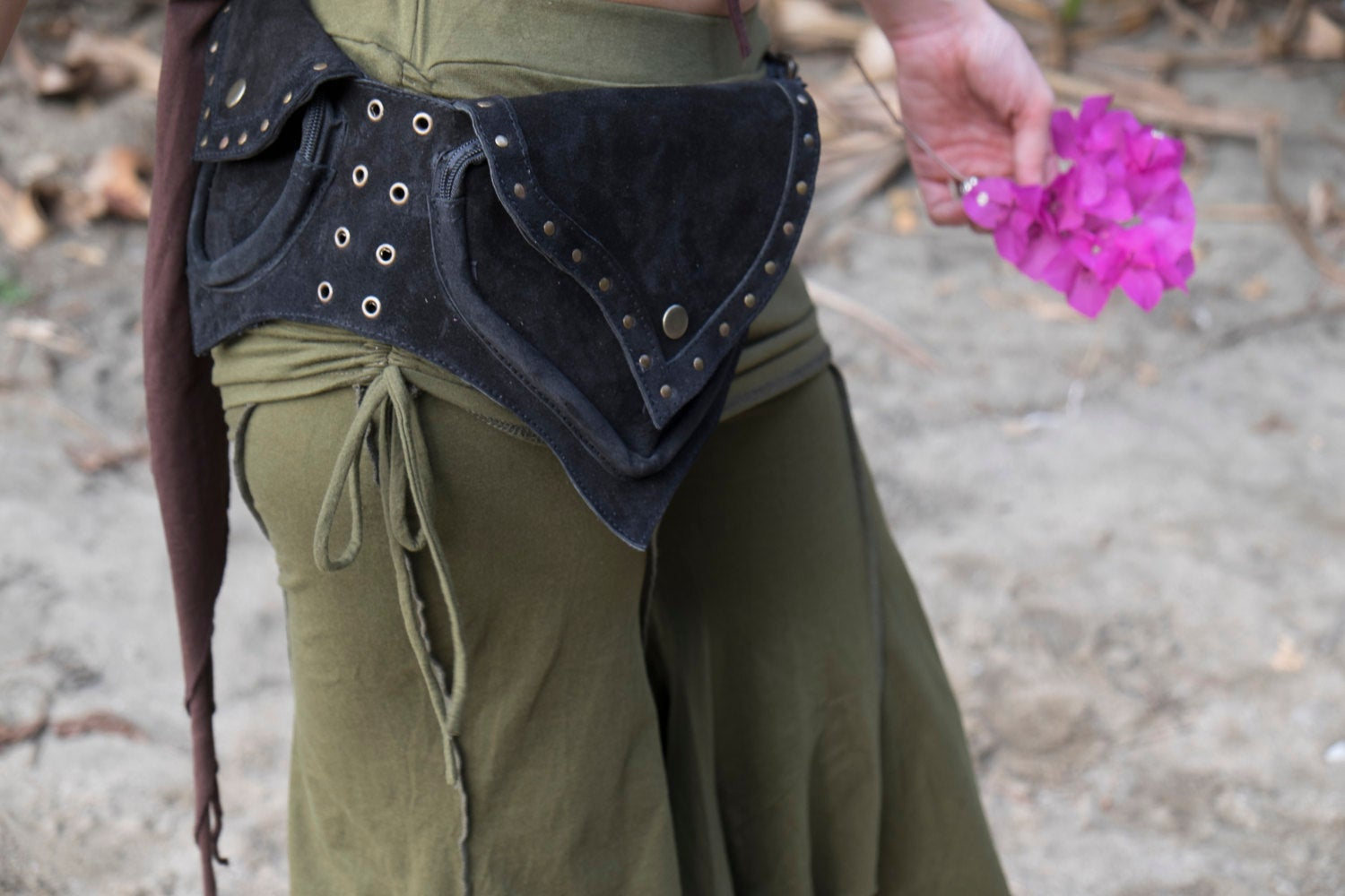 SUEDE Leather Utility Belt -  Psytrance Hip Bag, Festival Hippie Fanny Pack, Boho Pocket Belt, Psy