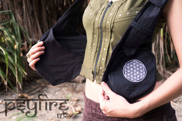 FLOWER of LIFE Festival Utility Belt - Festival Belt, Hippy Fanny Pack, Boho Pocket Belt, Psy Belt, Hippie Hip Bag, Travel Belt, Psytrance