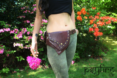 BROWN LEATHER Utility Belt - Festival Belt, Fanny Pack, Pocket Belt, Psy Belt, Hippie Hip Bag
