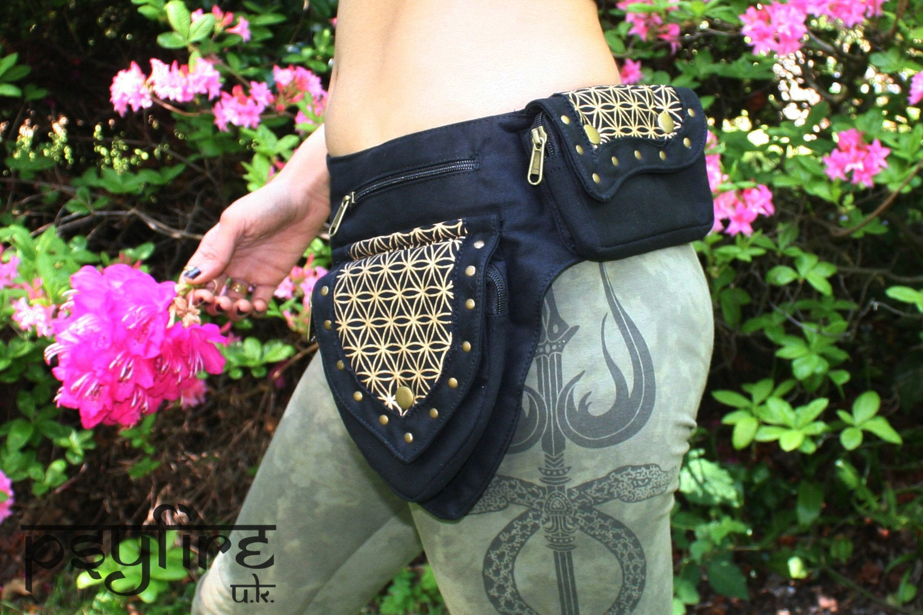 FLOWER OF LIFE Belt - Festival Belt, Fanny Pack, Pocket Belt, Psy Hip Bag, Psytrance Belt, Utility