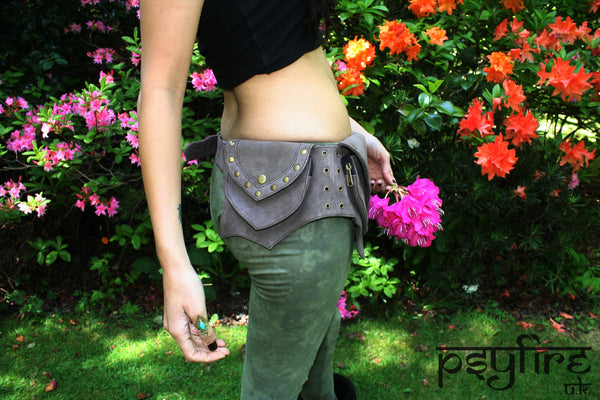 SUEDE Leather Festival Utility Belt - Festival Belt, Hippy Fanny Pack, Boho Pocket Belt, Psy Belt, Hippie Hip Bag, Travel Belt, Psytrance