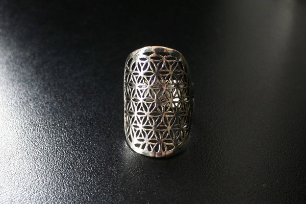 FLOWER OF LIFE Silver Ring - Flower of Life Ring, Gemstone Ring, Tribal Ring, Bohemian Ring, Boho Ring, Sacred Geometry Ring, Psytrance, Psy