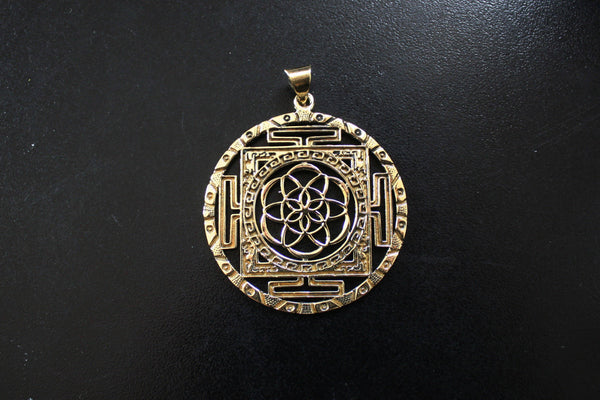 SEED OF LIFE Brass Pendant - Seed of Life Necklace, Tribal Necklace, Flower of Life Necklace, Sacred Geometry Necklace, Mandala Necklace