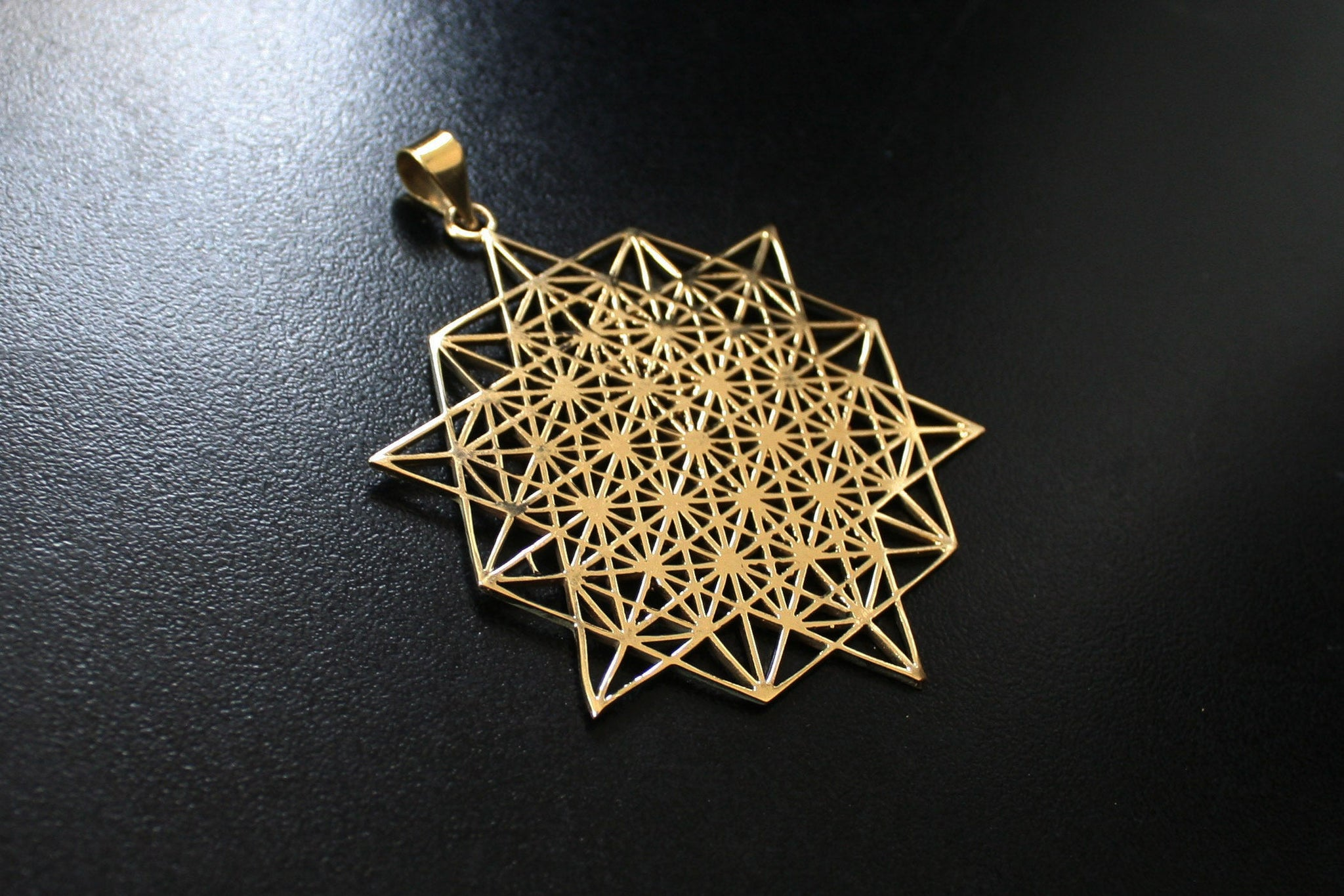 TETRAHEDRON STAR Brass Necklace - Flower of Life Necklace, Mandala Necklace, Sacred Geometry Necklace, Boho Necklace, Geometric Pendant