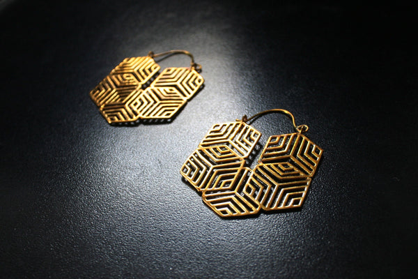 GEO CUBE Brass Earrings - Tribal Earrings, Geometric Earrings, Flower of Life, Sacred Geometry
