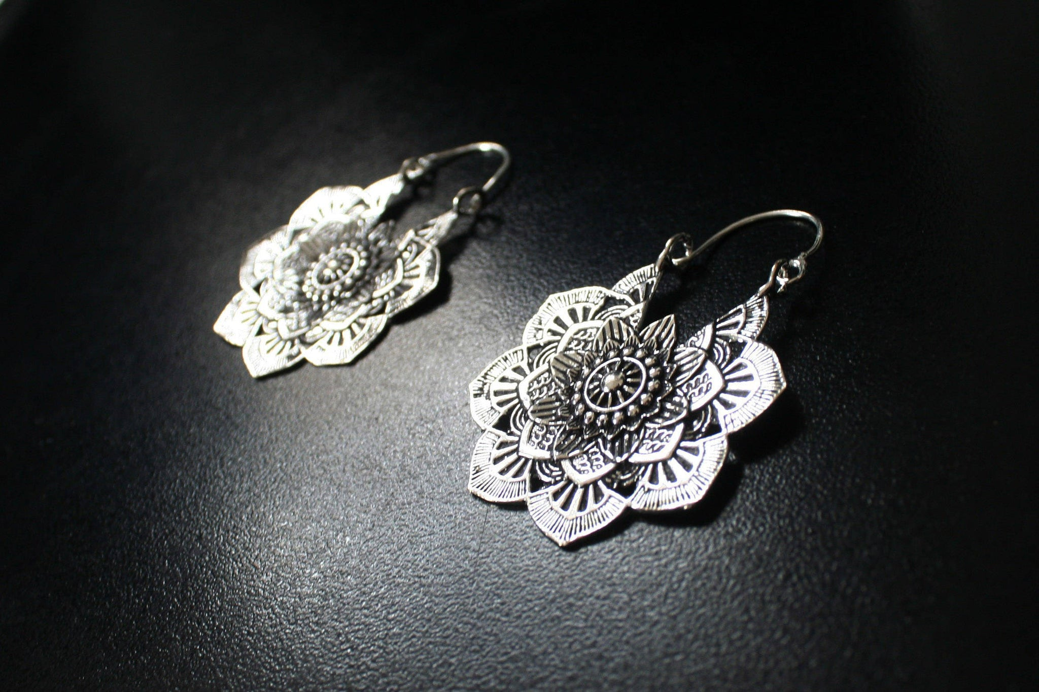 MANDALA Earrings - Silver Earrings, Gypsy Earrings, Flower Earrings, Lotus Earrings, Geometric Earrings, Tribal Earrings, Psytrance, Psy