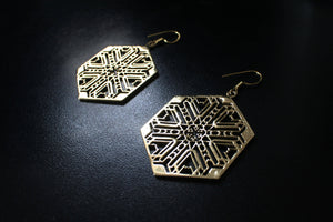 FRACTAL Brass Earrings - Geometric Earrings, Brass Earrings, Flower of Life Earrings, Sacred Geometry Earrings, Psytrance, Hippie Earrings