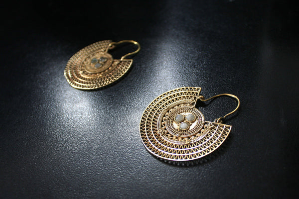 TRIBAL Earrings - Gypsy Earrings, Brass Earrings, Boho Earrings, Sacred Geometry Earrings, Hippie Earrings, Gift, Tribal Jewelry, Psy