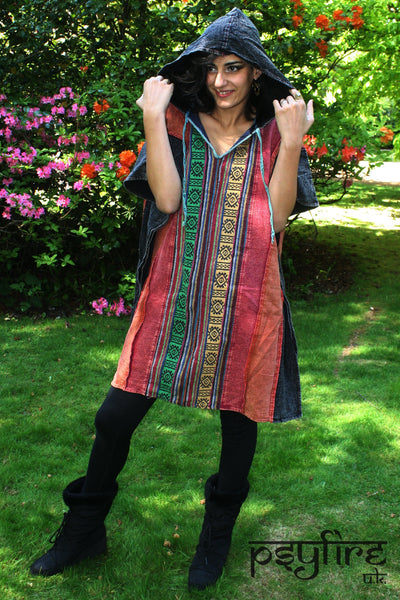 FESTIVAL PATCHWORK PONCHO - Pixie Hoodie, Festival Hoodie, Hippie Hoodie, Festival Clothing, Psytrance Jacket, Psy Hoodie, Festival Top