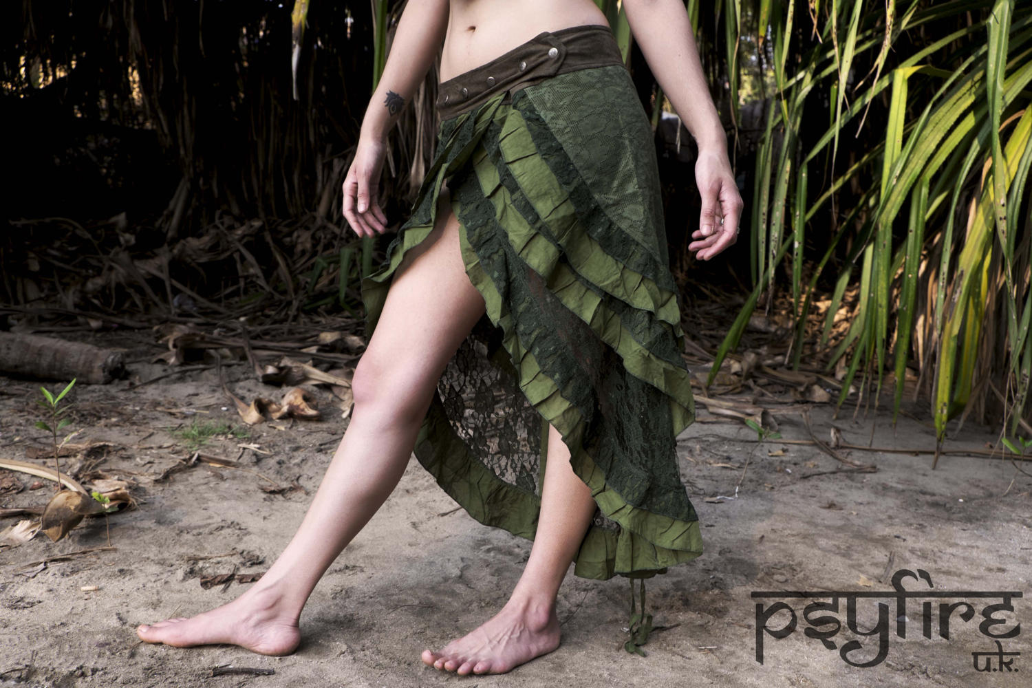 GREEN PIXIE Skirt - Lace Skirt, Festival Skirt, Long Skirt, Gypsy Skirt, Bellydance Skirt, Full Length Hippie Skirt, Short Skirt, Psytrance