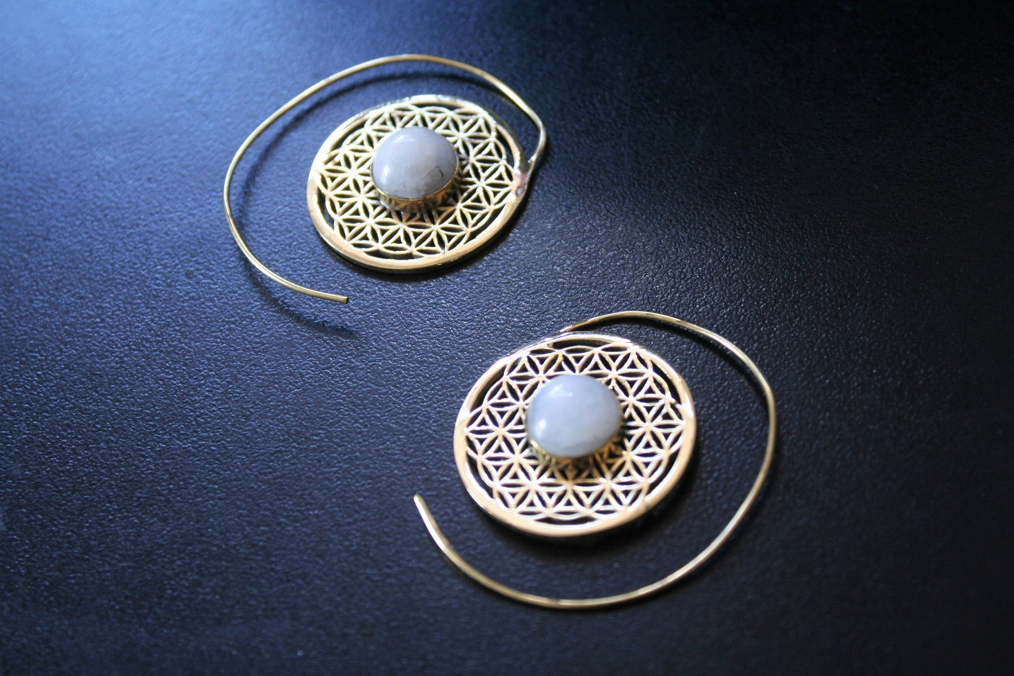 FLOWER OF LIFE Spiral Earrings - Moonstone Earrings, Turquoise Earrings, Tiger Eye Earrings, Sacred Geometry Earrings, Brass Earrings, Gift
