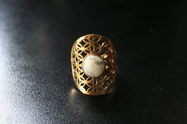 FLOWER OF LIFE Brass Ring - Moonstone Ring, Gemstone Ring, Tribal Ring, Bohemian Ring, Boho Ring, Sacred Geometry Ring, Psytrance, Psy