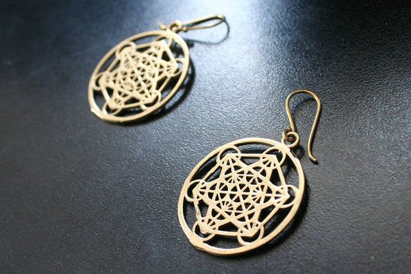 METATRON'S CUBE Earrings - Tribal Jewellery, Psy, Boho Earrings, Psytrance, Geometric Earrings, Sacred Geometry Earrings, Brass Earrings