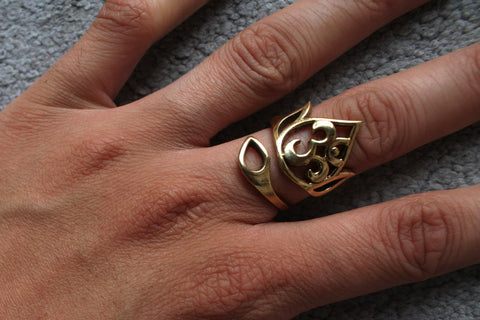 AUM Brass Ring - Om Ring, Ohm Ring, Brass Ring, Gemstone Ring, Tribal Ring, Bohemian Ring, Boho Ring, Sacred Geometry Ring, Psytrance, Psy