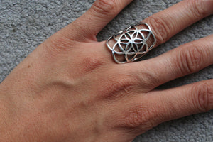 SEED OF LIFE Silver Ring - Mandala Ring, Gemstone Ring, Tribal Ring, Bohemian Ring, Boho Ring, Sacred Geometry Ring, Psytrance, Psy Ring