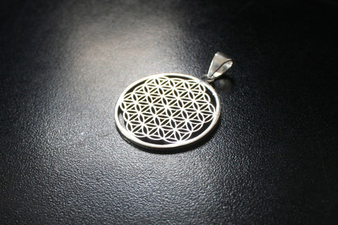 FLOWER OF LIFE Silver Pendant - Mandala Necklace, Tribal Necklace, Hippie Psy, Boho Necklace, Sacred Geometry Pendant, Bohemian Pendant