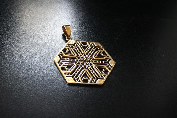 FRACTAL Brass Pendant - Geometric Necklace, Mandala Necklace, Psytrance Necklace, Boho Necklace, Sacred Geometry Necklace, Tribal Necklace