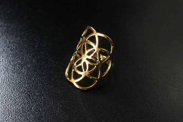 SEED OF LIFE Brass Ring - Mandala Ring, Flower of Life Ring, Tribal Ring, Bohemian Ring, Boho Ring, Sacred Geometry Ring, Psytrance, Psy