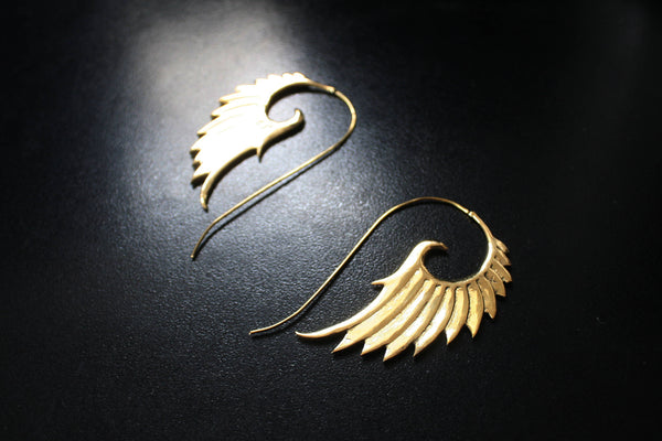 ANGEL WING Brass Earrings - Tribal Earrings, Boho Earrings, Spiral Earrings, Gypsy Earrings