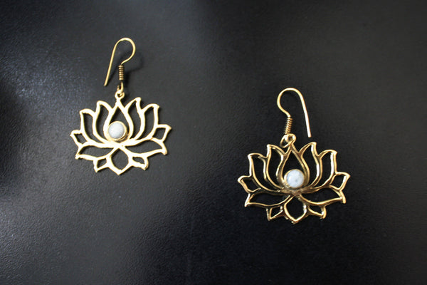 LOTUS Earrings - Yoga Jewellery, Brass Earrings, Tribal Earrings, Boho Earrings, Hippie Earrings, Moonstone Earrings, Tiger Eye Earrings