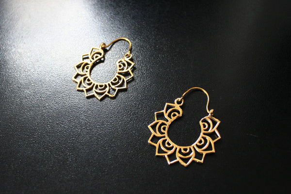 TRIBAL HOOP Earrings - Tribal Earrings, Brass Earrings, Gypsy Earrings, Lotus Earrings, Sacred Geometry Earrings, Gift, Tribal Jewelry, Psy