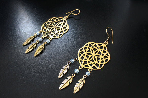 DREAMCATCHER Earrings - Flower of Life Earrings, Gypsy Earrings, Boho Earrings, Tribal Jewelry, Psy