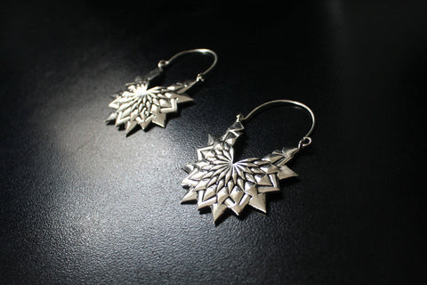 FLOWER Earrings - Silver Earrings, Tribal Earrings, Boho Earrings, Lotus Earrings, Hippie Earrings