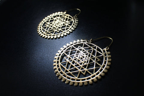 SRI YANTRA Earrings - Mandala Earrings, Tribal Earrings, Flower of Life Earrings, Hippie Earrings, Psy, Bohemian Earrings, Sacred Geometry
