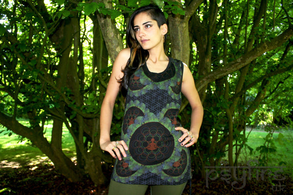 FLOWER OF LIFE Tank Top - Festival Top, Hippie Tank Top, Hippie Vest, Psytrance, Boho Tank Top, Festival Clothing, Rave Wear, Psy Strap Top