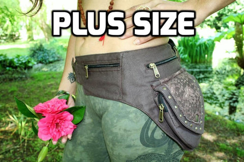 BROWN LACE Utility Belt - PLUS SIZE Festival Belt, Hip Bag, Hippie Fanny Pack, Psy,  Psytrance Belt