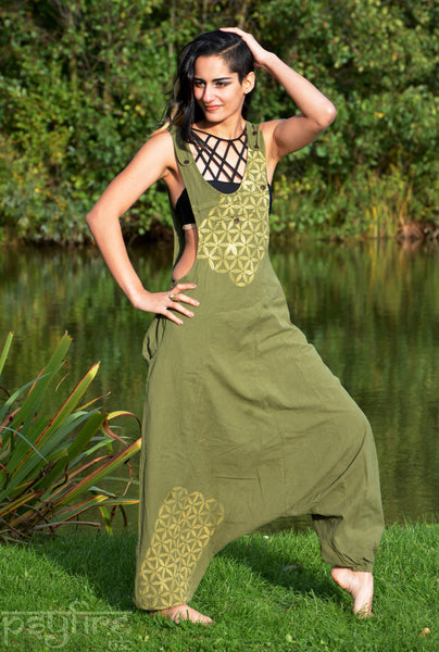 FLOWER OF LIFE Harem Jumpsuit - Harem Pants, Festival Playsuit, Festival Dungarees, Hippie Overalls, Boho Romper, Ali Baba Trousers, Baggy