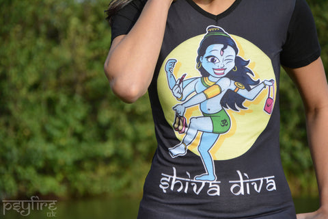 SHIVA DIVA T SHIRT - Yoga Top, Hippie T Shirt, Psytrance T Shirt, Festival Clothing, Psy Top, Yoga Clothing, T Shirt, Festival T Shirt, Psy
