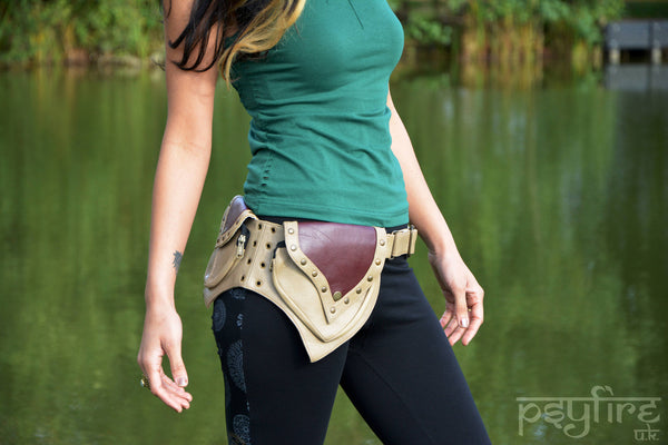 BEIGE LEATHER Utility Belt - Festival Belt, Fanny Pack, Pocket Belt, Psy Belt, Hip Bag, Psytrance