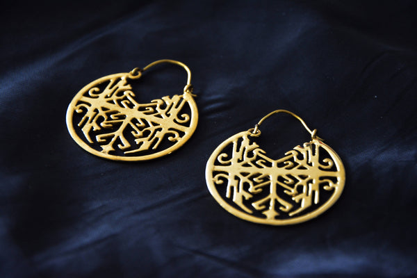 GEOMETRIC Earrings - Hippie Earrings, Tribal Earrings, Brass Earrings, Gypsy Earrings, Sacred Geometry Earrings, Tribal Jewelry, Psy