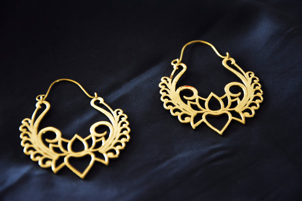 LOTUS Earrings - Tribal Earrings, Tribal Hoops, Boho Earrings, Psytrance, Tribal Jewelry, Sacred Geometry Earrings, Gypsy Earrings, Psy