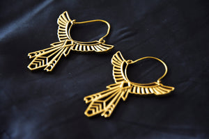 EGYPT WING Earrings - Egyptian Earrings, Tribal Earrings, Brass Earrings, Psytrance, Sacred Geometry