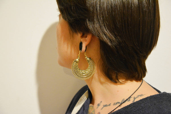 TRIBAL Earrings - Tribal Jewellery, Tribal Hoops, Boho Earrings, Psytrance, Geometric Earrings, Sacred Geometry Earrings, Gypsy Earrings