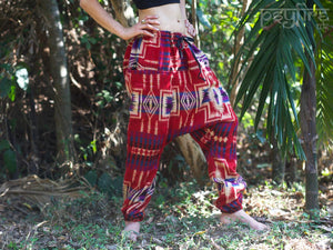 AZTEC Harem Pants - Unisex Ali Baba Trousers, Hippie Yoga Pants, Fisherman Pants, Boho Baggy Trousers, Psytrance Pants, Winter Harem Pants