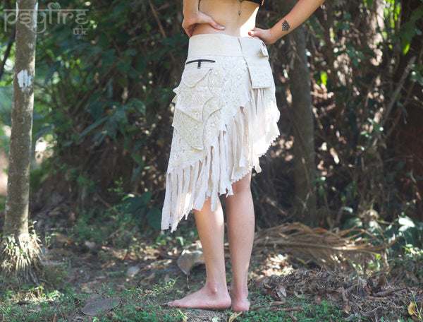 HEMP PIXIE Skirt - Pocket Belt Skirt, Hemp Skirt, Lace Miniskirt, Psytrance Skirt, Gypsy Skirt, Mini Skirt, Psy Clothing, Festival Wear