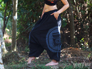 SPIRAL Harem Pants - Unisex Ali Baba Trousers, Hippie Yoga Pants, Fisherman Pants, Boho Baggy Trousers, Psytrance Pants, Harem Pants Women