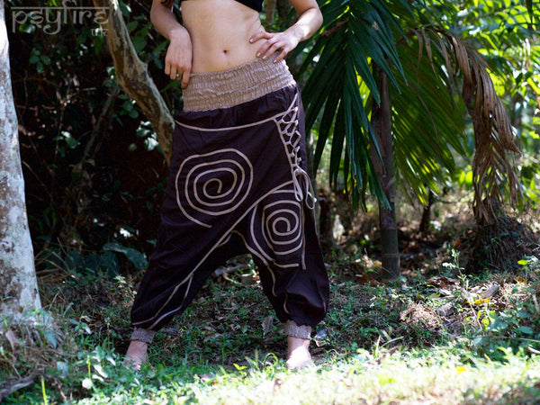 SPIRAL Harem Pants - Unisex Ali Baba Trousers, Hippie Yoga Pants, Fisherman Pants, Boho Baggy Trousers, Psytrance Pants, Women, Men, Female