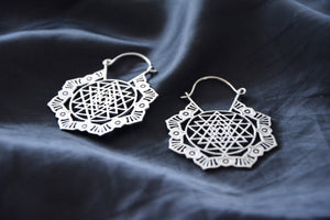 SRI YANTRA Earrings - Tribal Jewellery, Hippie Earrings, Psy, Boho Earrings, Psytrance, Geometric Earrings, Sacred Geometry Earrings, Brass
