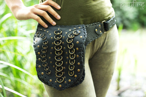 BLACK LEATHER Utility Belt - Psytrance Festival Belt, Hippie Fanny Pack, Pocket Belt, Hip Bag