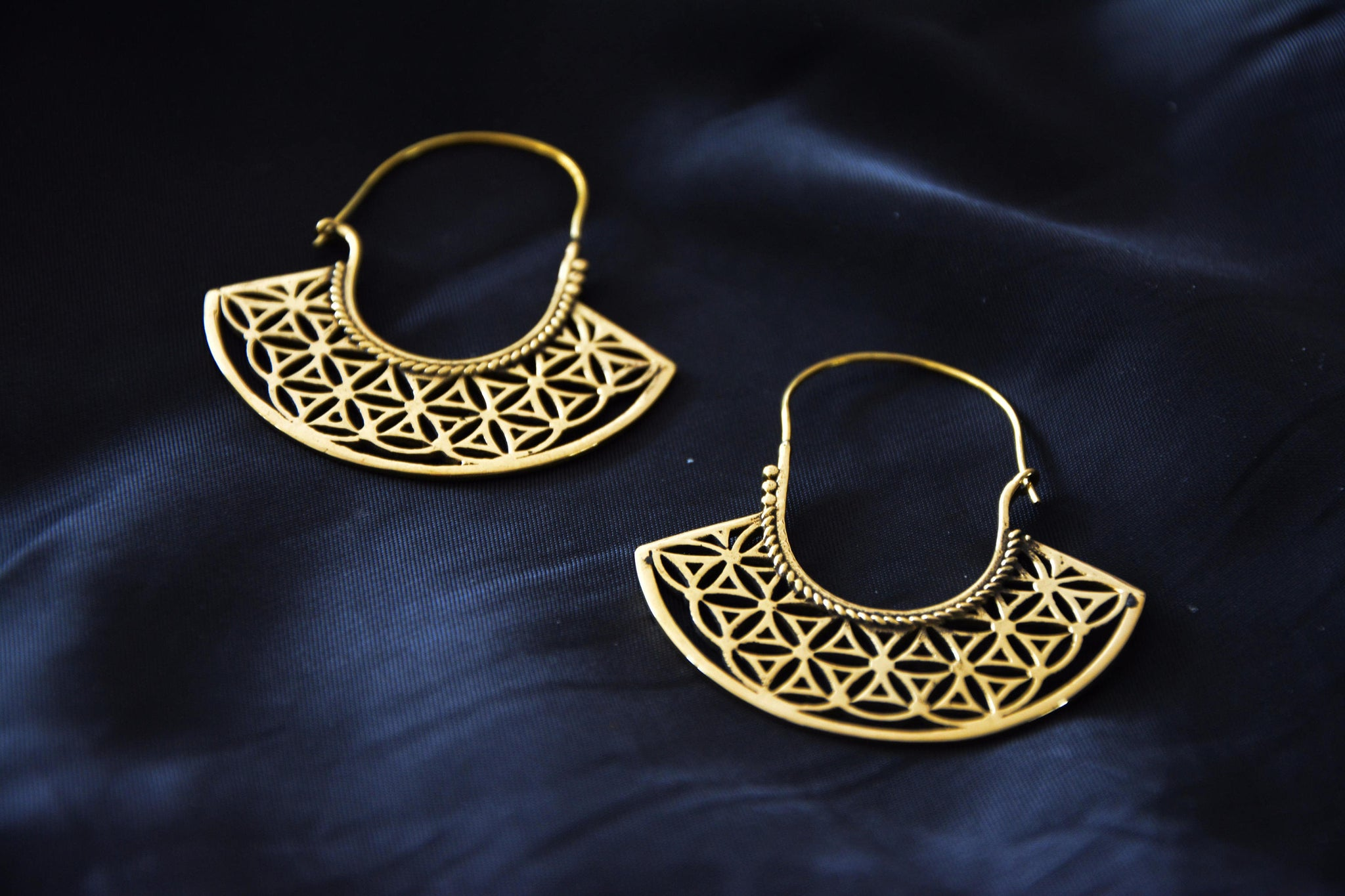 FLOWER OF LIFE Earrings - Tribal Earrings, Tribal Hoops, Psytrance, Geometric Earrings, Sacred Geometry