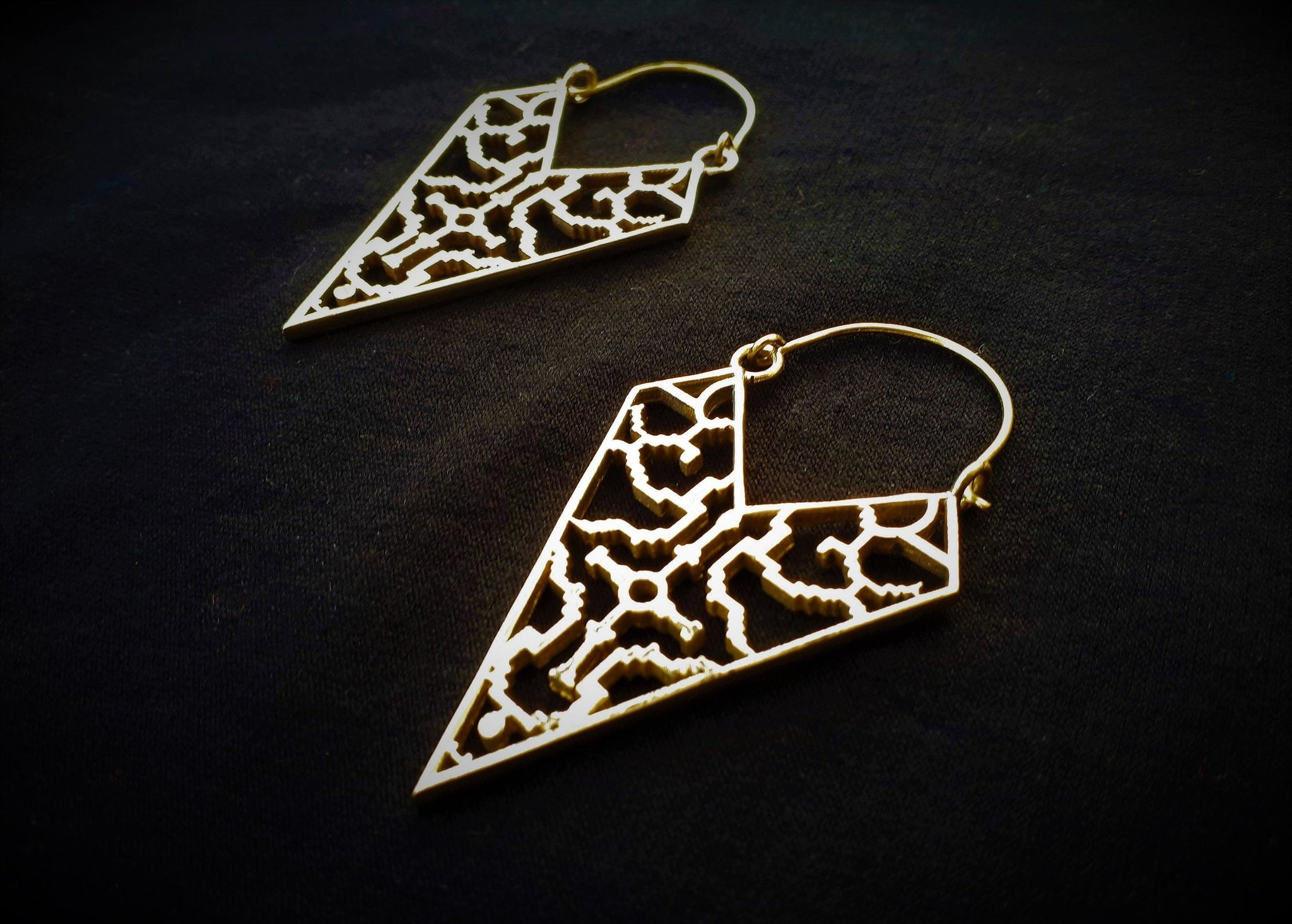 SHIPIBO Earrings -  Ayahuasca Earrings, Tribal Earrings, Brass Earrings, Gypsy Earrings, Sacred Geometry Earrings, Tribal Jewelry, Psy