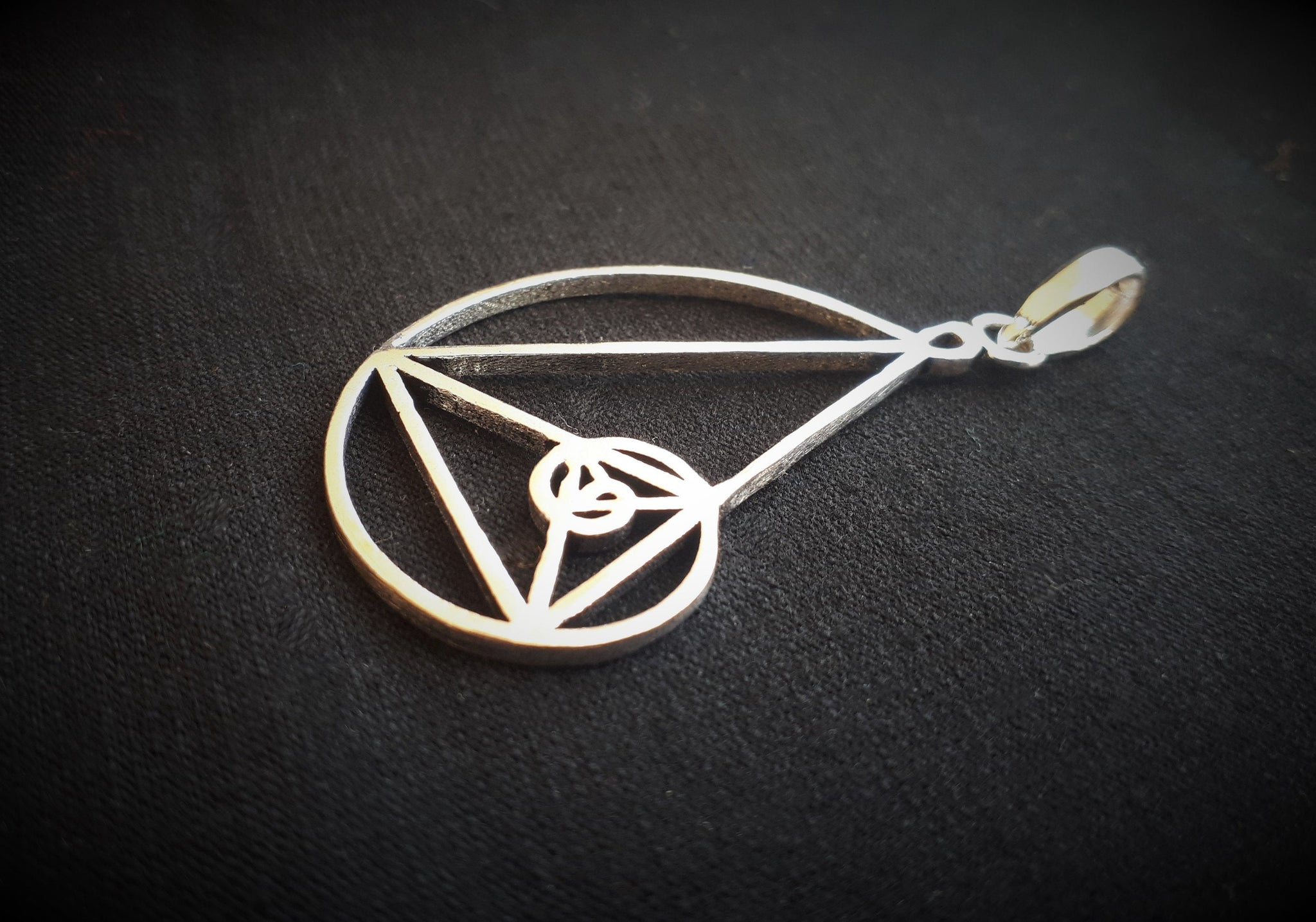 FIBONACCI Silver Pendant - Silver Plated Necklace, Golden Spiral Pendant, Tribal Necklace, Psy Gypsy, Boho, Sacred Geometry Necklace