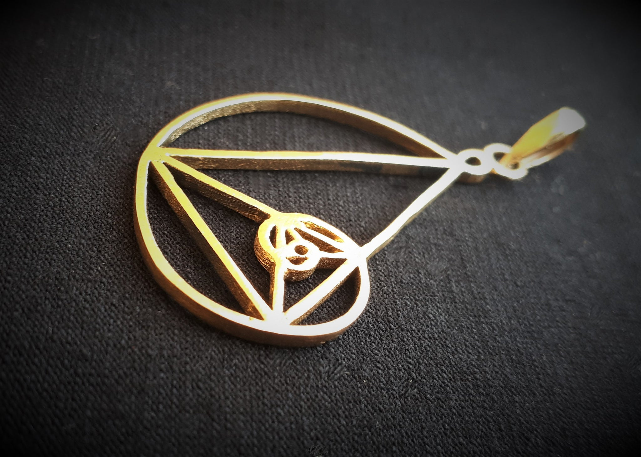 FIBONACCI Brass Pendant - Tribal Necklace, Golden Spiral Pendant, Psytrance Necklace, Psy Gypsy, Boho, Sacred Geometry Necklace, Hippie