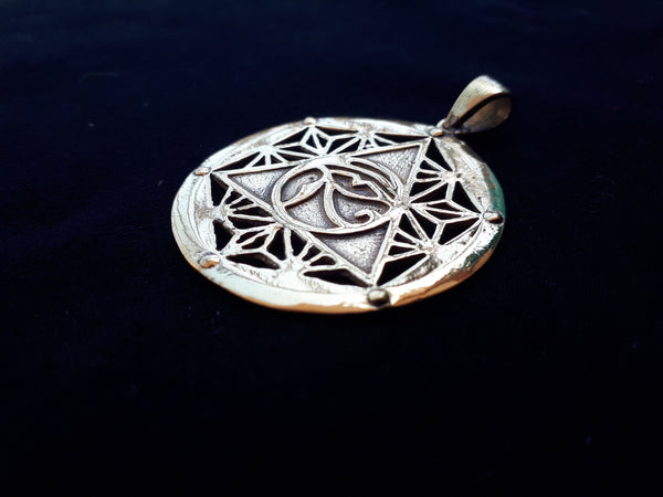EGYPTIAN Silver Necklace - Egypt Pendant, Mandala Necklace, Sacred Geometry, Silver Plated Necklace, Geometric Pendant, Eye of Horus, Psy
