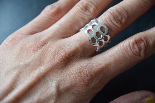 HIVE Silver Ring - Flower of Life Ring, Gemstone Ring, Tribal Ring, Silver Plated Ring, Adjustable Ring, Sacred Geometry, Psytrance, Psy